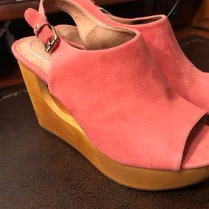 Corso Como Pink Wedge Wood Heel Sling Back 8.5